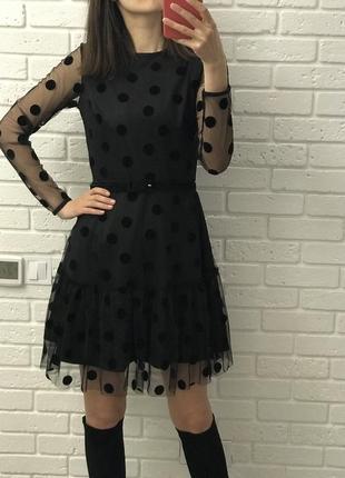 Кукольное платье с сеткой в горошек