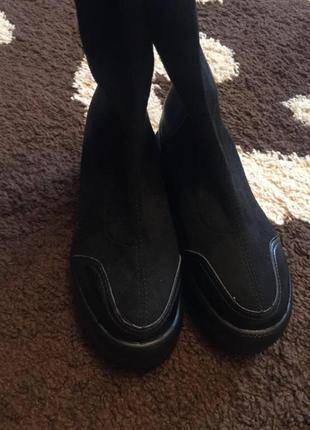 Ботинки,кроссовки,кеды чёрные танкетка эко замш
