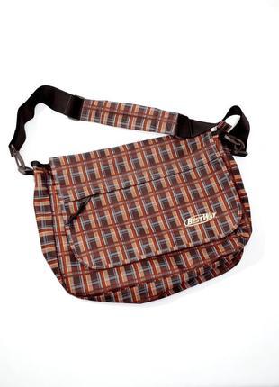 Коричневая в клетку текстильная  сумка-мессенджер через плечо best way. код 216