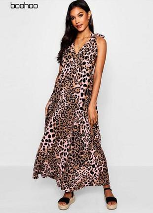 Макси платье в леопардовый узор с завязками на плечах boohoo