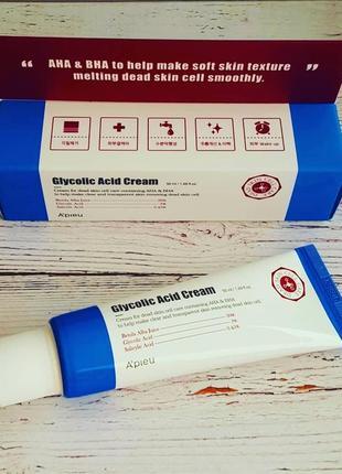 Крем для лица с aha и bha кислотами a´pieu glycolic acid cream 50мл корейская косметика