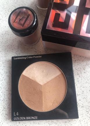 Бронзер shiseido 12г,  l4 golden bronze тестер трёхцветный