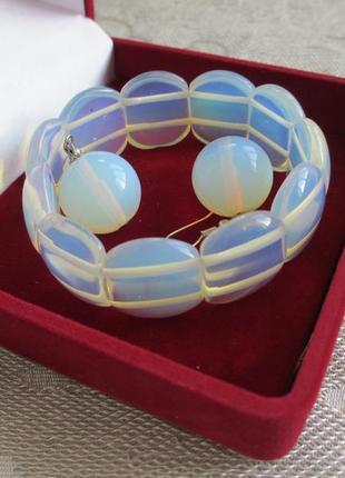 Лунный камень, браслет и серьги с лунным камнем