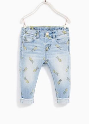 Джинсы штаны брюки принт ананас для девочки 2-3 г, zara джинси для дівчинки 2-3 р