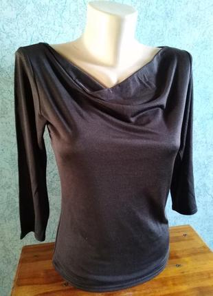 Натуральный трикотажный шелк, шоколадная блузочка modissa, швейцария