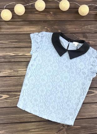 Кружевная блуза с коротким рукавом