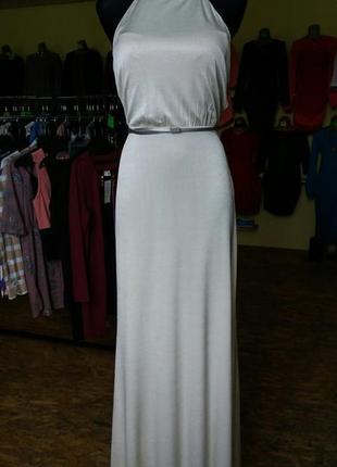 Платье вечернее в пол молочного цвета