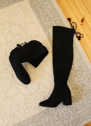 Демисезонные высокие сапоги, ботфорты 37 размера на устойчивом каблуке