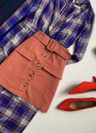 Крутая юбка трапеция с пуговицами и пояском primark