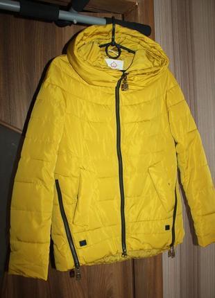 Куртка пуховик пальто демисезонная жёлтая xs_s