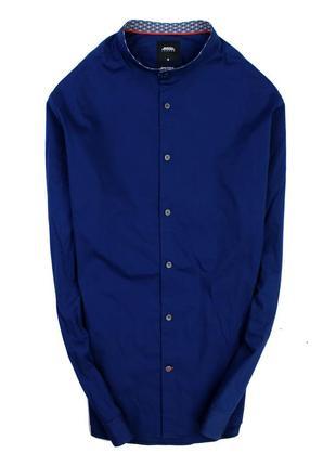 Стреичевая рубашка с воротником стойкой