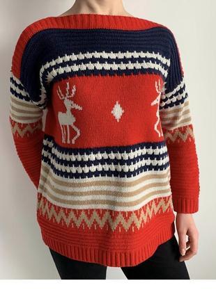 Кофта з оленями, яскрава кофта, світшот, тепла кофта, свитер, свитер с оленями.