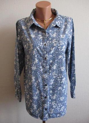 100% хлопок! джинсовая рубашка из хлопка в цветочный принт george