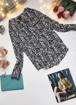 Черно-белая леопардовая блуза в пижамном стиле от h&m