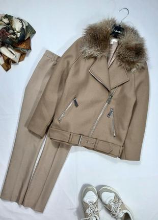 Трендовая куртка, косуха, теплое пальто с замками и меховым воротником, s-l