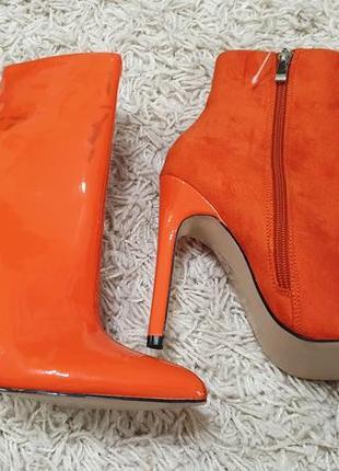 Брендовые женские красные сапоги ботинки на высоком каблуке public desire