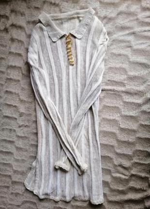 Платье вязаное туника в полоску бежевое светлое свитер катон