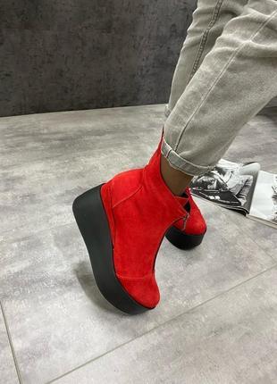 Ботинки женские на платформе демисезонные натуральная замша