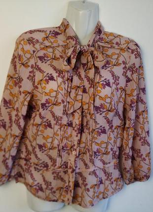 Нежная розовая, персиковая блуза с бантом, цветочный принт