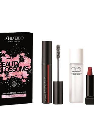 Shiseido набор(тушь,смывка 2х-фазная,помада)
