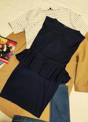 Prodigy red синее платье трикотажное с баской большое батал