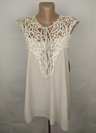 Блуза шикарная двухслойная с кружевной кокеткой uk 10-12/38-40/m