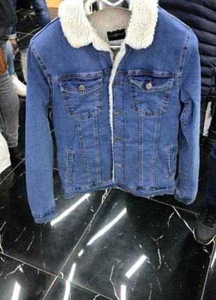 Мужская джинсовка на меху(тёмно-синяя)