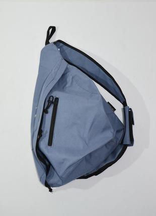 Мужской текстильный голубой рюкзак на одной лямке fortis.  код 221.