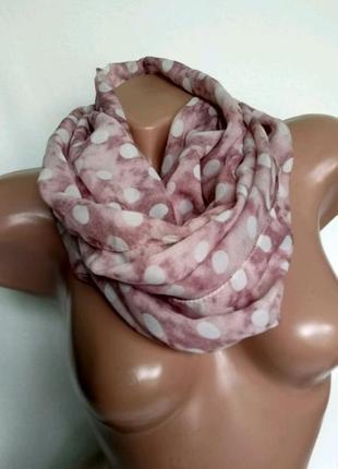 Шифоновый нежный шарф/хомут/снуд в составе 50% шелка , италия