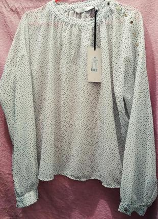 Блуза numph в горошек, воротник стойка