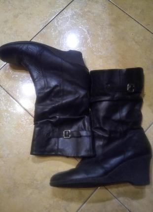 Сапоги ботинки деми на подъемистую полную в голени ножку 100 % кожа