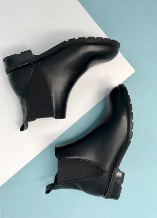 Lux обувь! натуральные кожаные демисезонные женские ботинки челси на удобном каблучке