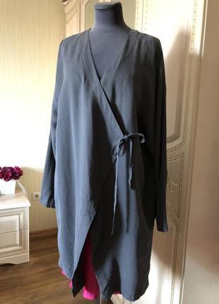 Роскошный стильный бохо кардиган накидка тренч плащ, натуральный шёлк шелк, шелковый