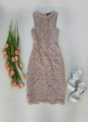 Кружевное платье бежевого цвета от boohoo размер m-l