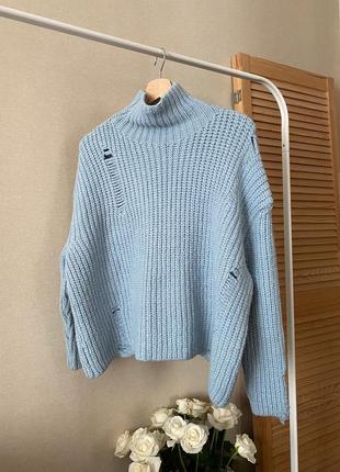 Dilvin голубой вязаный свитер oversize с рваностями, хороший состав, универсальный размер
