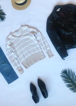 Качественный свитер джемпер в полоску c&a. р-р s