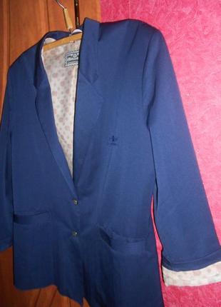 Синий прямой жакет пиджак с манжетами - 50 р