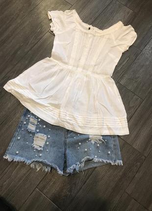 Белая блуза с баской хлопковая