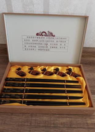 Набор китайских деревяных палочек для еды,суши с подставками