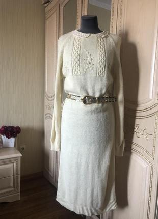 Витражное теплое вязаное платье свитер с ажурным воротничком, натуральная шерсть, винтаж
