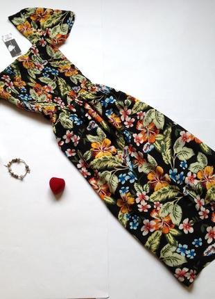 Платье миди с цветочным принтом в стиле винтаж