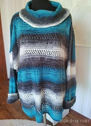 Легкий мохеровый свитер очень большой размер 30-32 англ., оверсайз, на наш до 70.