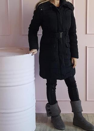 Черный пуховик женская черная куртка дутик длинный с поясом dorothy perkins на весну