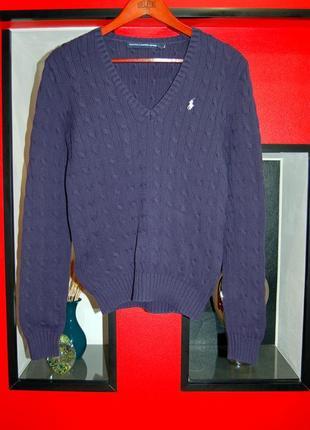 Polo ralph lauren sport! коттоновый женский свитер, кофту с v-образным вырезом.