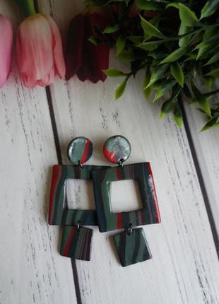 Стильные серьги цвета хаки , очень модные !