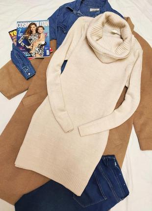 Платье свитер белое бежевое вязаное под горло хомут оверсайз h&m