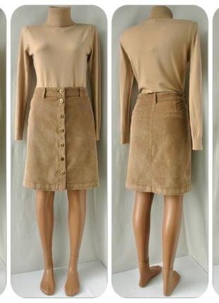 Cтильная бежевая вельветовая юбка tu на пуговицах. размер uk16.