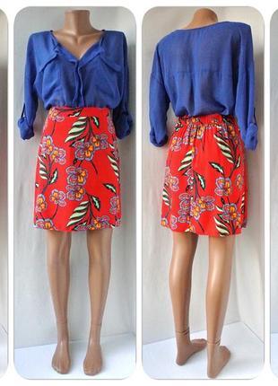 """Яркая красивая вискозная юбка """"papaya"""" с цветочным принтом. размер uk12."""