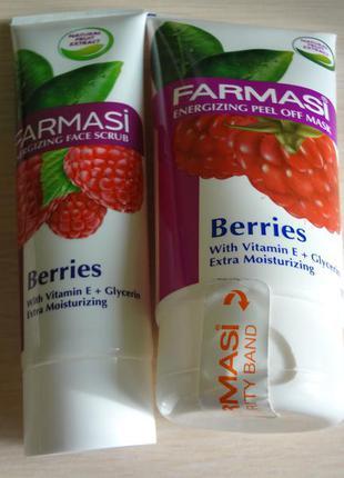 Набор маска - пленка и скраб ягодные для лица от фармаси