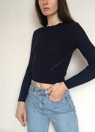 Женский укорочённый джемпер в рубчик топ с длинными рукавом темно синего цвета